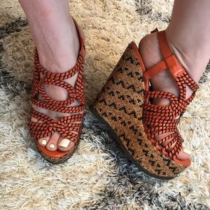 Mossimo supply wedges, size 8, orange and tan